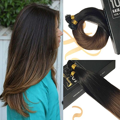 Sunny Fusion Flat Tip Human Hair Two Tone Hair Extensions Off Black Ombre Dark Brown 100% Remy Brazilian Hair Extensions Pre Pack 50 Weight - Usps Days Shipment Pre 2 For