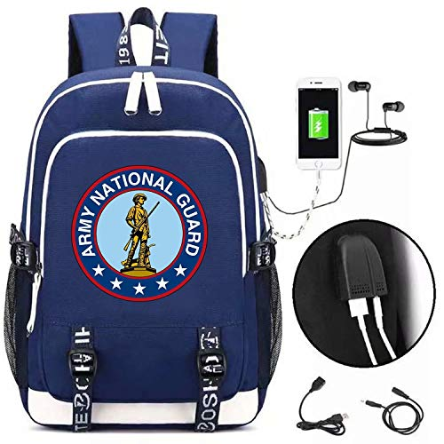 Army National Guard Letter Backpack for Teens and Fans,Casual Backpack with Big Capacity,School Bag with USB Charging Port