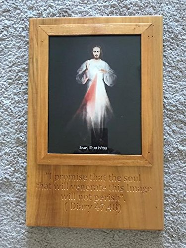 Saint Joseph Wood Craft Divine Mercy Jesus (Vilnius) engraved and framed in solid maple wood ()
