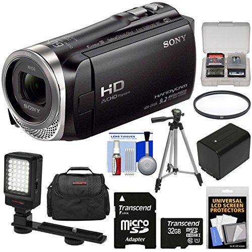 Sony Handycam HDR-CX455 8GB Wi-Fi HD Video Camera Camcorder with 32GB Card + Battery + Case + Tripod + LED Light + Filter + Kit by Sony