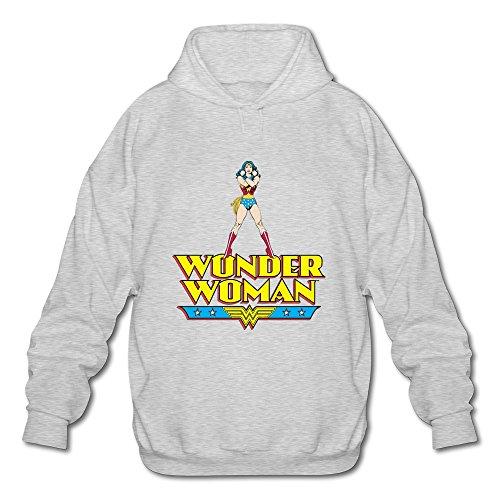 AOPO Wonder Woman WW LOGO Men's Long Sleeve Hooded Sweatshirt / Hoodie Large Ash - Costume Made Converse