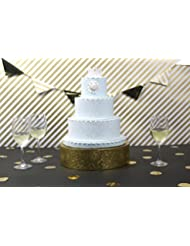 Jack Cube Cake Stand, Cupcake Display Supplies Tray Plate for Decorative Party(12inch / Gold) - :MK197AG