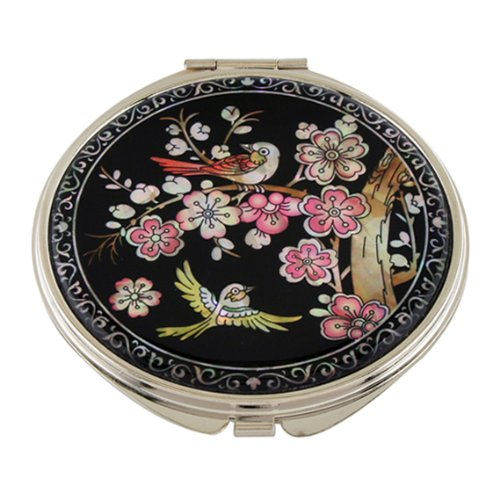 Mother of Pearl Pink Korean Plum Flower Tree and Bird Design Double Compact Magnifying Purse (Plum Compact)