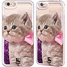 Case+Film+Pink Stylus Hard Back Cover Fits Apple iPhone 5/5S/SE LIQUID GLITTER Pink Cat/Kitty/Kitten with Bow