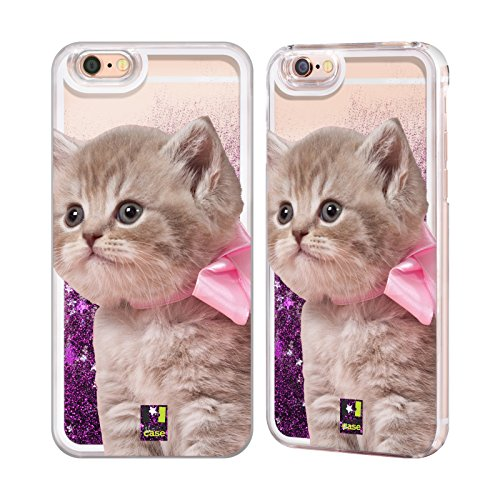 Case+Film+Pink Stylus Hard Back Cover Fits Apple iPhone 5/5S/SE LIQUID GLITTER Pink Cat/Kitty/Kitten with - Bow Kitty With