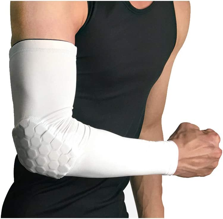 RGA Basketball Elbow Arm Guard Sleeve Padded Compression Protection Elbow Sleeve Padded Arm Sleeve for Football, Baseball, Outdoor Sports (White, L)