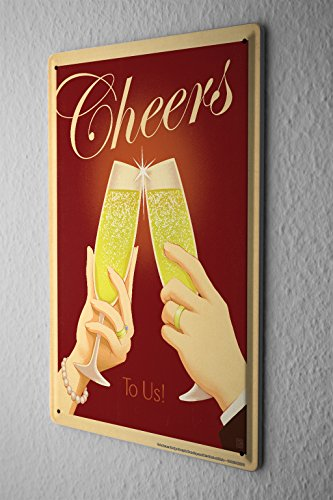 Tin Sign 20X30 cm cheers champagne glasses Bar Pub Restaurant Decor Metal Poster (Cheers Pub Sign)