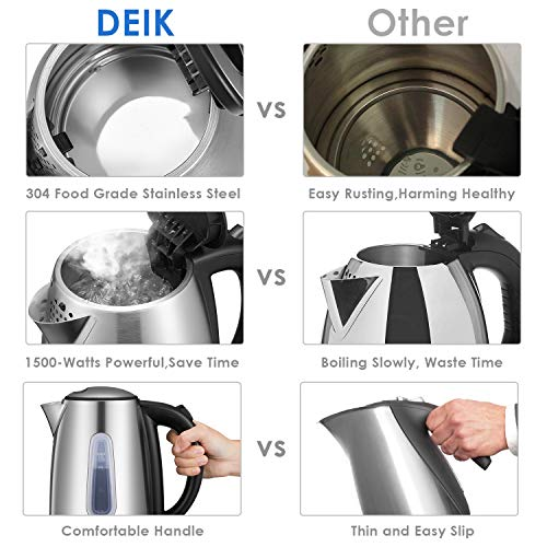 Deik Electric Kettle Stainless Steel Cordless Tea Kettle with British Strix Control, 1.7-Liter Water Kettle 1500W Fast Boiling, Hot Water Kettle Electric with Auto Shut-Off, BPA-Free