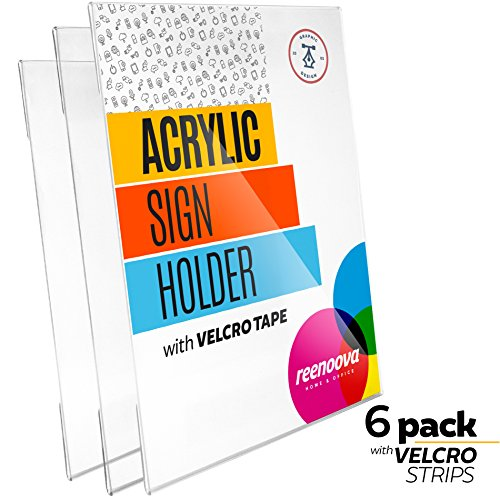 Acrylic Sign Holder with Velcro Adhesive, 8.5 x 11 inches or 11 X 8.5 Wall Mount - THICK ACRYLIC with Velcro Adhesive Tape, No Drilling, Vertical and Horizontal - (6 Pack Velcro Adhesive)
