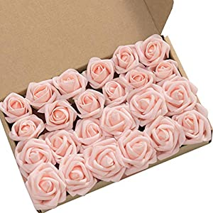 Ling's moment Artificial Flowers Blush Rose Buds and Small Roses w/Stem for DIY Wedding Bouquets Centerpieces Arrangements Party Baby Shower Home Decorations 24