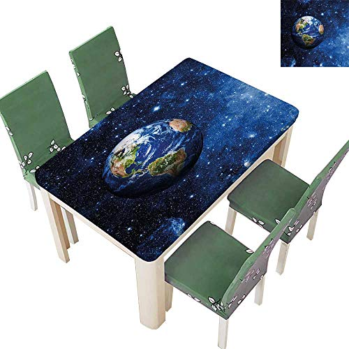 (Printsonne Polyester Tablecloth Table Cover PlanEarth in Solar System with Stars Life Glo Themed for Dining Room 54 x 102 Inch )