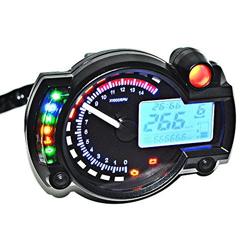Bluefire Adjustable Motorcycle Digital Speedometer Lcd Digital Odometer Red  Blue Backlight