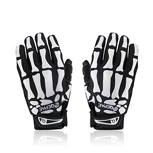 F7507 Cycling Bike Bicycle Anti-Slip Breathable Hand Skeleton Pattern Full-Finger Gloves Size (M, Skeleton)