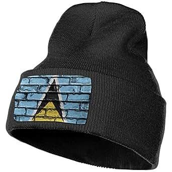 Saint Lucia Flag Banner Bricks Wall Unisex Warm Winter Hat