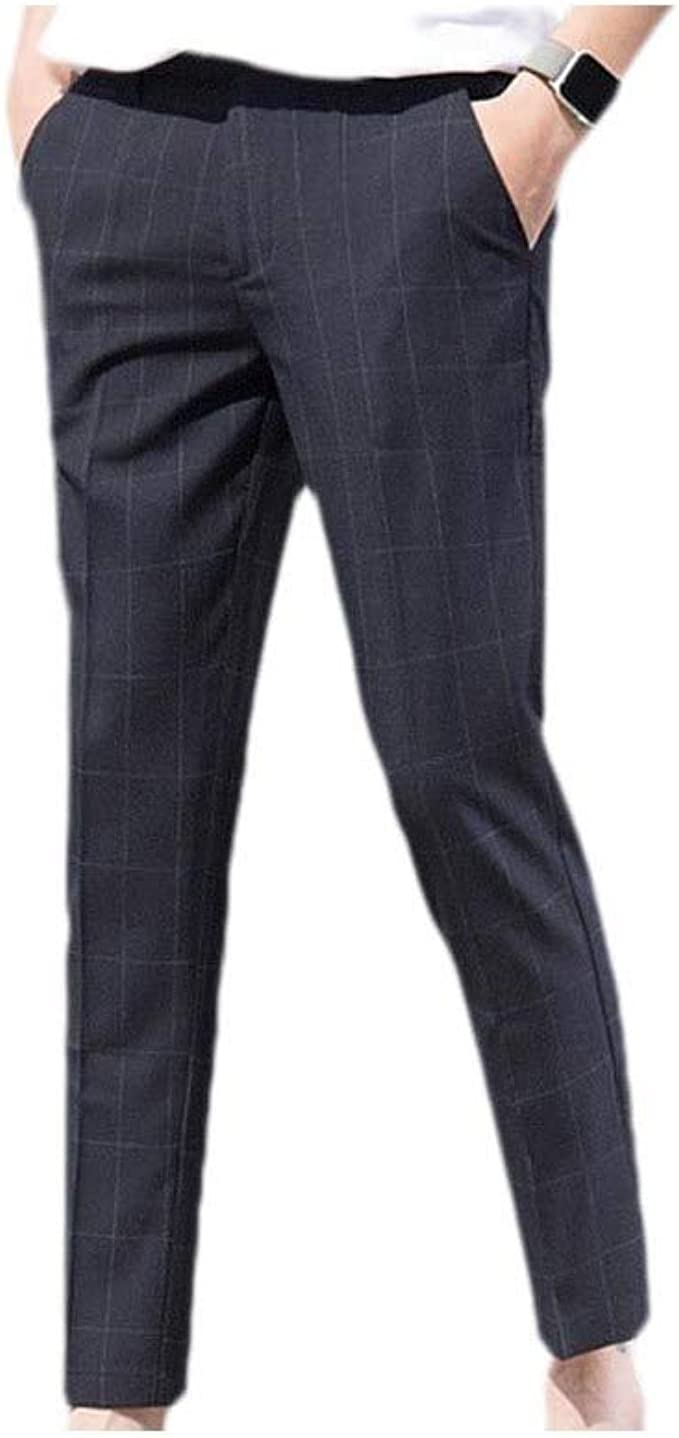 Nicellyer Men's Pocketed Flat-Front Plaid Colorblock Office Business Suit Pants