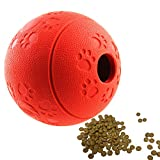 Aduck Interactive IQ Treat Dog Fetch Ball Toy [Fun Feeder][Safety Nature Rubber] Food Dispensing Puzzle Puppy Toy for Training Playing Running Chasing & Slow Eating - 3.2 Inch (Fire Red)