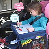 Kids Car Seat Travel Tray- Travel & Learn Waterproof Activity Lap Tray for Eating and Toy Play with Side Mesh Pockets