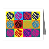 CafePress - Volleyball Pop Art Note Cards (Pk of 20) - Blank Note Cards (Pack of 20) Matte