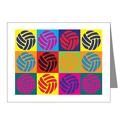 CafePress - Volleyball Pop Art Note Cards (Pk of 20) - Blank Note Cards (Pack of 20) Matte by CafePress