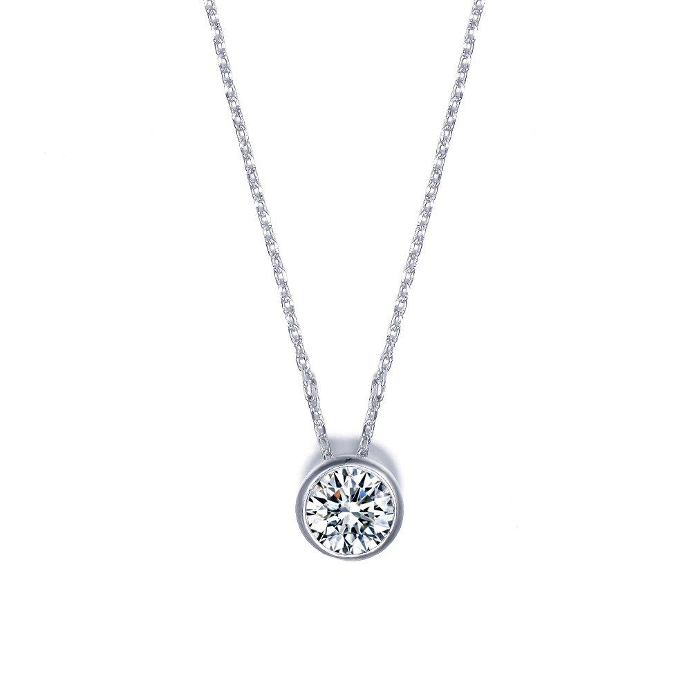 "UMODE Jewelry Solitaire Bezel set diamond necklace with 1 Carat Round Clear Cubic Zirconia CZ Diamond 18"" UN0034"
