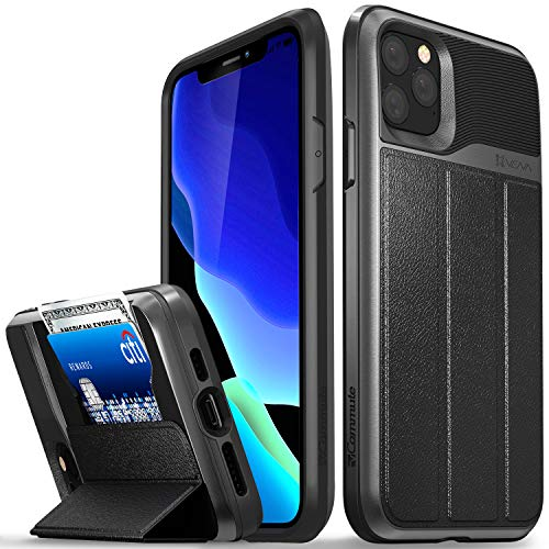 Vena vCommute Wallet Case for iPhone 11 Pro Max 6.5 inches 2019, (Military Grade Drop Protection) Leather Cover Card Slot Holder with Kickstand - Space Gray