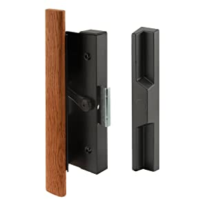 Prime-Line C 1126 Sliding Door Clamp Style Handle Set, 4-15/16 in., Wood Handle, Extruded Aluminum, Black, Pack of 1