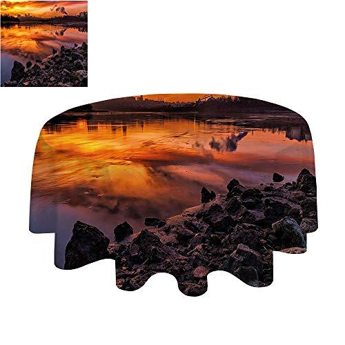 (SATVSHOP Round tablecloth-40Inch-Dinner/party.Landscape USA Missouri Kansas City Scenery of a Sunset Lake Nature Camping)