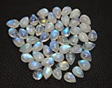 NATURAL 7x10 mm 50 piece RAINBOW MOONSTONE full blue fire Cellibrated pear Smooth Cabochon cab semi precious gemstone