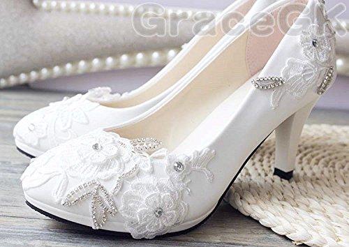 nbsp; Taglia 3 High sposa Crystal White Heel matrimonio JINGXINSTORE scarpe Low da Pump Lace B7pPO