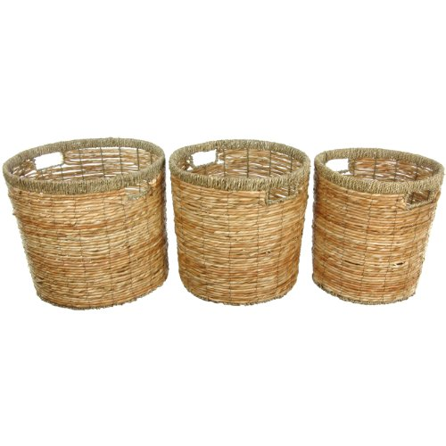Oriental Furniture Rush Grass Round Waste Bin ( Set of 3 )(B)