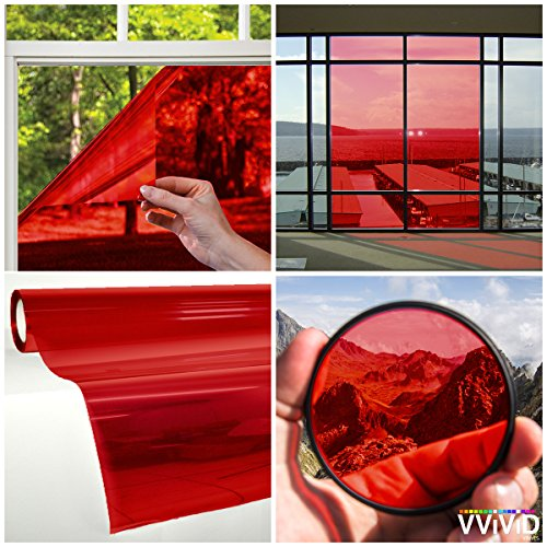 VViViD Transparent Colorful Vinyl Window Tinting Sheets (5ft x 5ft, Red)