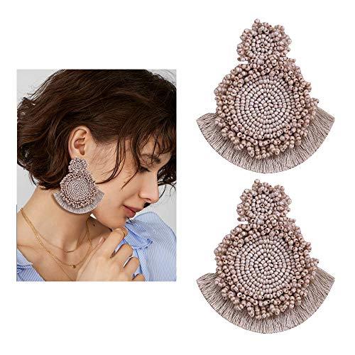 Seed Beaded Earrings - Handmade Large Fan Tassel Fringe Drop Dangle Earrings, Boho Glass Bead Statement Earrings Jewelry Gift For Women Girls ()