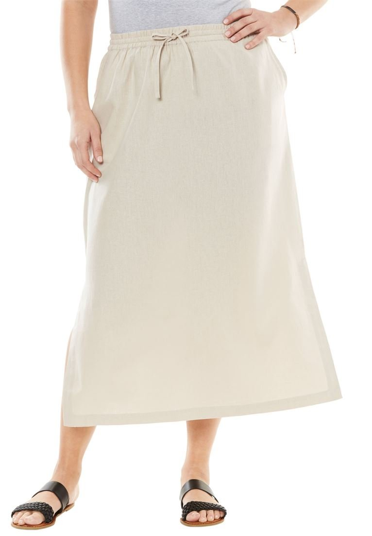 Women's Plus Size Long Linen Skirt Natural Khaki,24 W