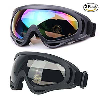 Ski Goggles, Snow Sports Goggles for Youth, Men & Women with UV Protective Anti-Glare Lenses Windproof Dustproof Bicycle Motorcycle Goggles 2-Pack by UUAT