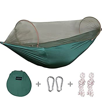 G4Free Portable Camping Hammock Mosquito Net Hammock Tent Capacity 400 Pounds Outdoor Foldable Tree Hammocks(110x50 inch)(Deep green)