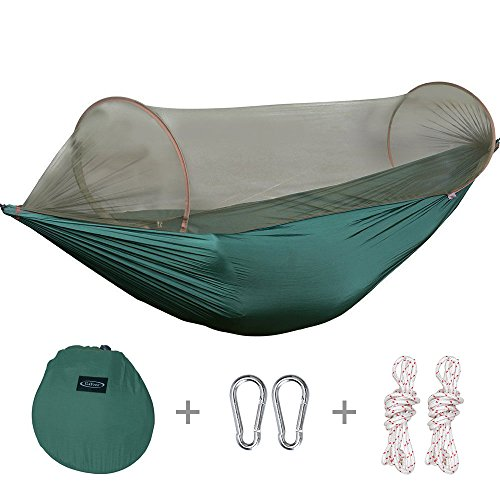 G4Free Portable Camping Hammock Mosquito Net Hammock Tent Capacity 400 Pounds Outdoor Foldable Tree Hammocks(110x50 inch)(Deep green)