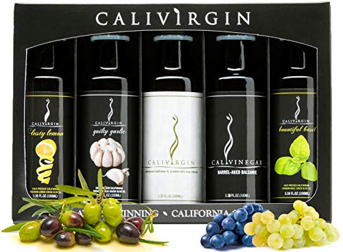 Calivirgin Olive Oil & Balsamic Vinegar Gift Set - Modena Balsamic Vinegar & Extra Virgin Olive Oil Gift Set - Olive Oil Sampler Set + Modena Balsamic Vinegar - 5 Bottles, 100ml Each