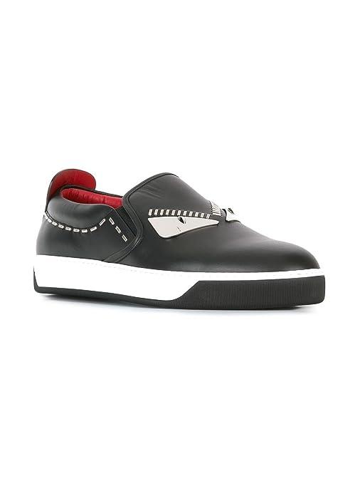 Fendi Herren 7E1028TTYF0QY3 Schwarz Leder Slip On Sneakers