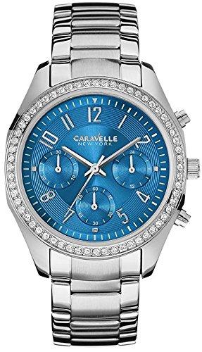 Caravelle by Bulova Women's Steel Bracelet & Case Quartz Blue Dial Chronograph Watch 43L182 - Caravelle Blue Watch