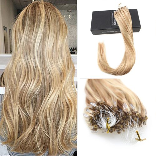 Sunny 22inch Loops Micro Rings Beads Tipped Remy Human Hair Extensions Caramel Blonde Mixed Bleach Blonde #27/613 1g/1s 50G Micro Loop Hair Extensions Remy Human Hair