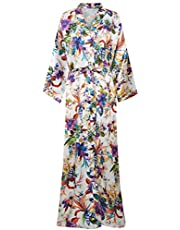 ArtiDeco Dames ochtendjas maxi-lange kimono strandjurk bloemen bedrukt gebreide jas kimono badjas dames lange robe bloemen slaapmantel meisje pajama party