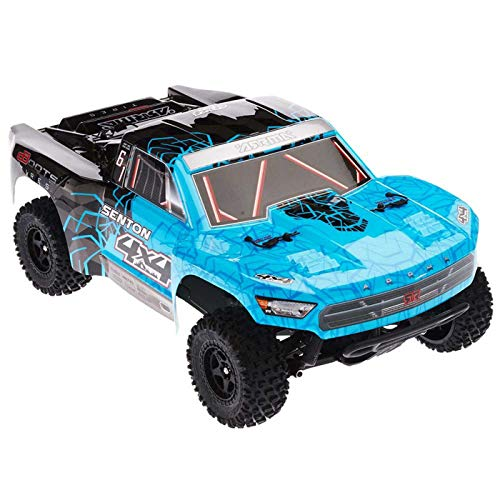 A Electric RC RTR Remote Control 4WD Short Course SC Truck with 2.4GHz Radio, 7C 2400mAH NiMH, Charger, 1:10 Scale (Blue/Black) ()