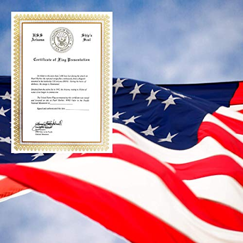Pacific Historic Parks Nylon 5x8 USA Flag Flown On May 27 2019 Memorial Day at Pearl Harbor National Memorial with Official Certificate of Flag Presentation