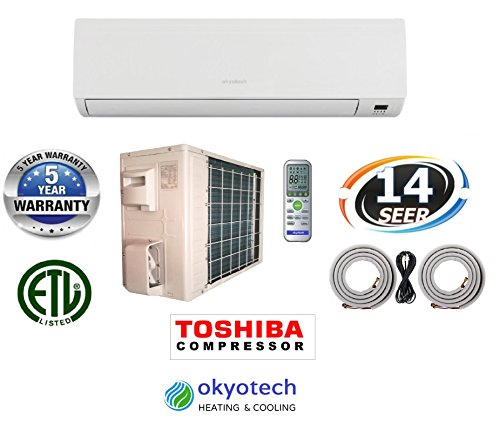 okyotech 36,000 BTU 3 TON 14 SEER Ductless Mini Split Air Conditioner Cool & Heat with 17 feet Full Installation Set with Heat Pump