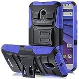 Moto G 3rd Gen Holster Case, Fosmon STURDY [Locking Swivel Belt Clip | Kickstand] Rugged Heavy Duty Shock Proof Case for Motorola Moto G 3rd Gen (Black/Blue)