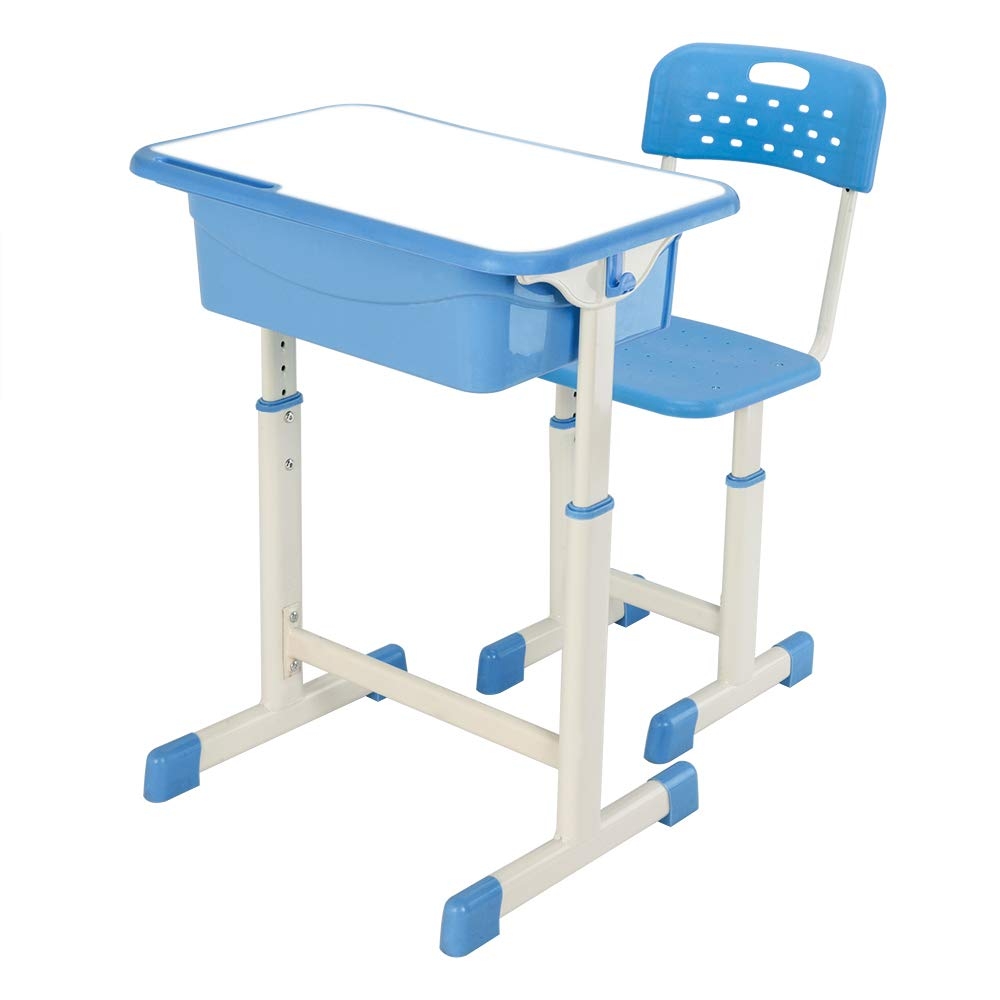FCH Children's Desk and Chair Set,Height Adjustable Desk and Chair with Hanging Hooks and Pencil Groove (Blue) by FCH (Image #6)