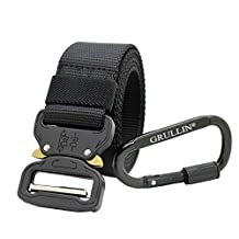 Molle Tactical Belt CQB Rigger Waistbelt Rappel Battle Adjustable Military Webbing Band Nylon Outdoor Heavy Duty 15inch Metal Buckle Mens EDC Belt … (2018Black)