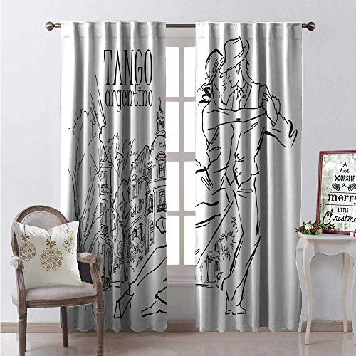 Argentina Waterproof Window Curtain Hand Drawn Sketch of Tango Dancers City Background Tango Argentino Text Decorative Curtains for Living Room W72 x L84 Black and White
