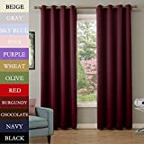 COFTY Burgundy 52Wx120L Inch (set of 2 panels) Solid Thermal Insulated Blackout Curtain Panel Drape - Antique Bronze Grommet