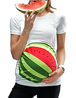 Ruici Maternity Bump Tunic Cute White Side Ruched T-Shirt Pregnancy Short Sleeve Funny Tops